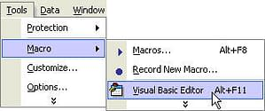 menu to open visual basic editor
