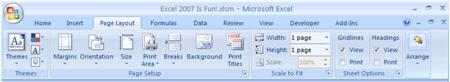 screenshot page layout ribbon