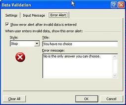data validation - enter the error message