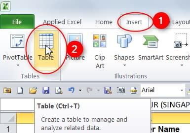 Insert Table for PowerPivot