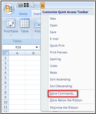 Add Quick Access Toolbar Step 1