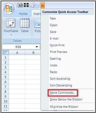 Add Quick Access Toolbar Step 1
