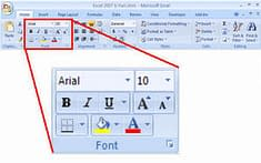 screenshot_home ribbon_font_formating