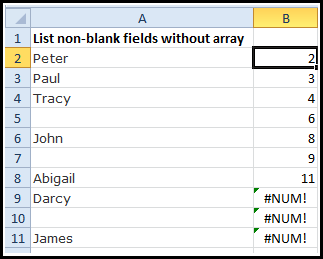 list non blanks formula